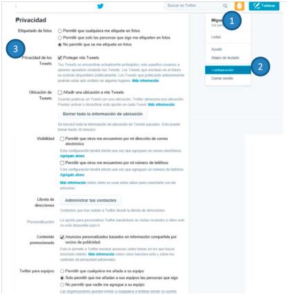 Recomendaciones de configuración para Twitter