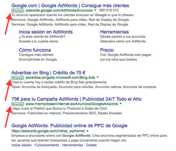 Ejemplo de anuncios de Adwords