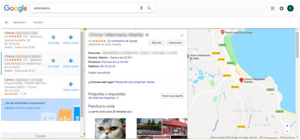 Ejemplo de Google my Business